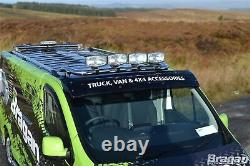To Fit 14+ Renault Trafic S/S Chrome Front Low Roof Top Light Bar + Spots + LEDs