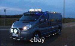 To Fit 14+ Renault Trafic Stainless Steel Chrome Front Low Roof Light Bar + LEDs